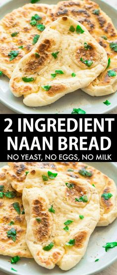 2 Ingredient Naan Bread (No Yeast!)- Vegan and Gluten Free! - 2 Ingredient Dough Naan Bread recipe made with NO yeast, NO oil and NO dairy- They take 10 minutes - Recipes With Naan Bread, Gf Recipes, Indian Food Recipes, Cooking Recipes, Healthy Recipes, Naan Bread Recipe Easy, Yeast Free Recipes, Gluten Free Vegetarian Recipes, Gluten And Yeast Free Bread Recipe