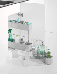 Cleaning AGENT by Kesseböhmer Clever Storage. Grey under sink unit