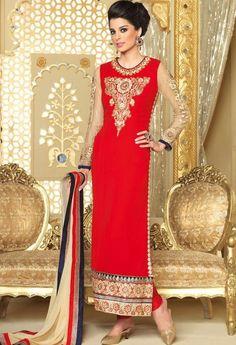 Red Georgette Designer Suit 3702