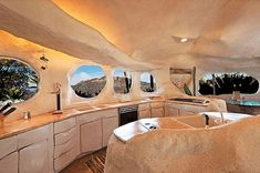 A home built to look like the Flintstones cartoon. Click on the link to see more pictures.