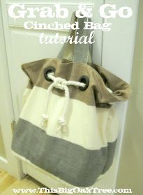 Looks easy tutorial, surely will try -  Big Oak Tree: Grab & Go Cinched Rope Bag {Tutorial}