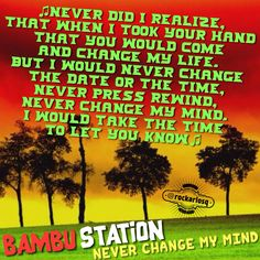 ♫Never did I realize, That when I took your hand  that you would come  and change my life. But I would never change  the date or the time, never press rewind,  never change my mind, I would take the time to let you know♫ BambuStation NeverChangeMyMind