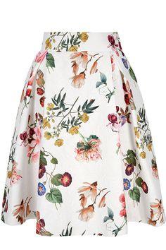 Λευκή φούστα από ανάγλυφο ύφασμα με floral τύπωμα | Yumi London | Phillyshop.gr