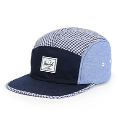 Herschell // A navy front panel and bill accented by chambray side panels and a navy and white gingham plaid top panel.