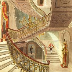 The principal staircase of Carlton House in London designed by architect Henry Holland. The home of the future George IV of England, it was demolished in 1825 after he had become king. Carlton House, Henry Holland, London History, Royal Residence, Old Books, Future House, Shed, Floor Plans, England
