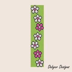 Free Beading Patterns | Flower Way Loom Bracelet Cuff by Debger Designs