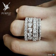 Be the center of attraction take a look at this stack of eternity bands round heart oval and Emerald cut diamonds by via Diamond Girl, Diamond Bands, Diamond Cuts, High Jewelry, Jewelry Box, Emerald Cut Diamonds, Eternity Bands, Wedding Bands, Wedding Ring