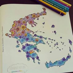 Map of Greece! With fancy designs! Coloured by @erasmiafotou Thank you Erasmia…