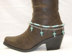 Turquoise Beads, Howlite Crosses and Sparkling clear Czech Crystals Boot Jewelry, Boot Bracelet, Boot Bling Beaded Foot Jewelry, Boot Jewelry, Cowgirl Jewelry, Anklet Jewelry, Anklets, Boot Bling, Cowgirl Bling, Bling Shoes, Cowgirl Boots