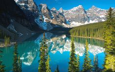 Download wallpapers 4k, Moraine Lake, summer, Banff National Park, blue lake, North America, mountains, Canada