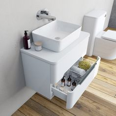 Mode Ellis slate wall hung vanity drawer unit and countertop Grey Drawers, Vanity Drawers, Vanity Units, Countertop Basin, Countertops, Bathroom Basin Cabinet, Basin Unit, Drawer Inserts, Wall Hung Vanity