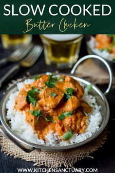 This Crock Pot Butter Chicken is creamy, spiced and delicious - an easy recipe that's perfect for the slow-cooker. It's creamy and spicy – but not too spicy for the kids to enjoy too. Perfect with a bowl of fluffy rice. #crockpotcurry #butterchicken #chickencurry #slowcooked #slowcooker #chickenrecipe Easy Cheap Dinner Recipes, Easy Chicken Dinner Recipes, Gluten Free Recipes For Dinner, Healthy Chicken Recipes, Healthy Dinner Recipes, Indian Food Recipes, Easy Meals, Gluten Free Recipes Crock Pot, Easy Recipes