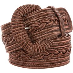 Pre-owned Oscar de la Renta Metallic Woven Belt (36.285 HUF) ❤ liked on Polyvore featuring accessories, belts, brown, oversized belt, brown woven belt, brown braided belt, braided belt and brown belt