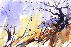 Winter field corner, expressive watercolour, Affordable art, by Adrian Homersham. http://adrianhomersham.co.uk/