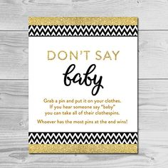 Black Chevron and Gold Glitter Baby Shower by dearbabyprintables