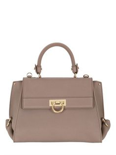 SALVATORE FERRAGAMO - MEDIUM SOFIA GRAINED LEATHER TOP HANDLE