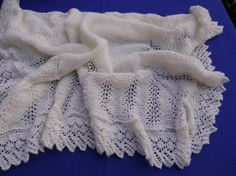 Hand knitted baby shawl pale cream/antique white by Babylaceshawls