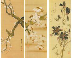酒井抱一「白梅図」「桜図」19世紀前半/鈴木其一「木蓮小禽図」19世紀中頃