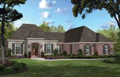 Acadian Inspired Open Floorplan (HWBDO76852) | French Country House Plan from BuilderHousePlans.com