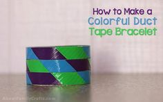 Colorful Duct Tape Bracelet - Use this technique to make a variety of colorful bracelets using duct tape! Make one --> http://aboutfamilycrafts.com/colorful-duct-tape-bracelet/