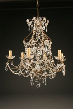 6 arm Italian iron and crystal antique chandelier, circa 1890. #crystal #antique #chandelier #iron