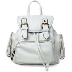 White Leather Mini Backpack with Drawstring Opening 92162 ($51) ❤ liked on Polyvore featuring bags, backpacks, leather drawstring bag, leather knapsack, drawstring backpack, white backpack and mini bag