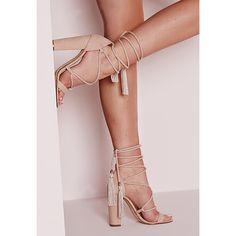 Missguided Lace Up Tassel Block Heel Sandals (67 AUD) ❤ liked on Polyvore featuring shoes, sandals, nude, lace up high heel sandals, wrap sandals, lace up shoes, nude block-heel sandals and block-heel sandals