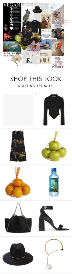 """To the animals: may we be forgiven."" by la-rosy ❤ liked on Polyvore featuring STELLA McCARTNEY, Thrive, Pier 1 Imports, San Diego Hat Co., Arbonne, StellaMcCartney, vegan and Govegan"