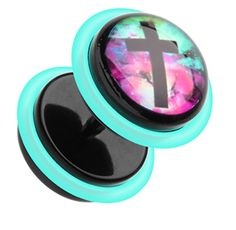 """Galaxy Cross Acrylic Fake Plug with O-Rings - 16 GA (1.2mm) - Ball Size: 3/8"""" (10mm) - Sold as a Pair - Sold as a Pair"""