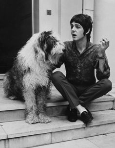 Great portrait of Singer Paul McCartney in 1960 with his dog, Martha. More pet portraits at www.sweetpetportraits.com
