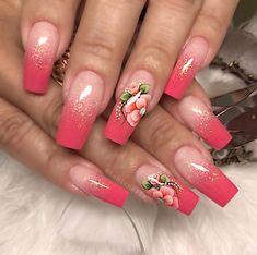 Cute Acrylic Nail Designs, Cute Acrylic Nails, Nail Art Designs, 3d Nail Art, Nail Art Hacks, Cute Spring Nails, Hot Nails, Nail Decorations, Gorgeous Nails