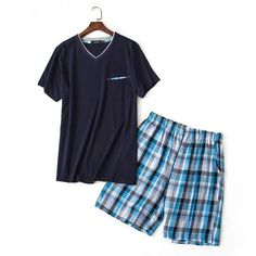 Mens Simple Casual Comfy Short Sleeve Home Loose Cotton Sleepwear Pajama Sets is personalized and designer, see other cool on NewChic. Track Suit Men, Cotton Sleepwear, Comfy Shorts, Pajama Shorts, Suit And Tie, Striped Shorts, Clothes For Sale, Mens Suits, Pajama Set