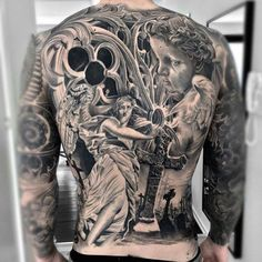125 Best Back Tattoos For Men: Cool Ideas + Designs Guide) - Beautiful Cross Angels Back Tattoo Designs – Best Back Tattoos For Men: Cool Back Tattoo Designs - Small Back Tattoos, Cool Back Tattoos, Back Tattoos For Guys, Lower Back Tattoos, Constilation Tattoo, Backpiece Tattoo, Grey Tattoo, Ankle Tattoo, Tattoo Quotes