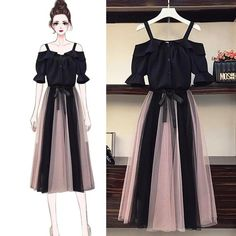 Sweet Off Shoulder T-shirt + Mesh Skirt Set – Orchidmet Fashion Drawing Dresses, Fashion Illustration Dresses, Korean Fashion Dress, Fashion Dresses, Korean Dress, Girls Fashion Clothes, Teen Fashion Outfits, Mode Outfits, Stylish Outfits