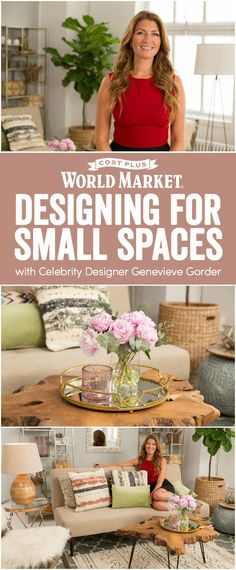 Celebrity interior designer and television host Genevieve Gorder shares tips on living the big life of your dreams—even within the confines of a small space. www.worldmarket.com #FallHomeRefresh