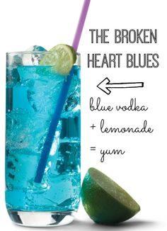 The Broken Heart Blues: Blue Vodka Cocktail Recipe, Food And Drinks, Looking for a fun Valentine& Day cocktail? Try this delicious Broken Heart Blues vodka drink. (Can be enjoyed with OR WITHOUT a broken heart. Uv Blue Drinks, Blue Cocktails, Vodka Drinks, Drinks Alcohol Recipes, Non Alcoholic Drinks, Party Drinks, Cocktail Drinks, Fun Drinks, Cocktail Recipes