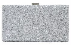 A silver structured hard case clutch bag diamante and metallic encrusted to the front silver fabric to the back beautiful quality The bag has a metal