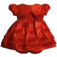 Bonnie Jean Baby/NEWBORN 3M-9M 2-Piece RED BONAZ ROSETTE Special Occasion Wedding Flower Girl Holiday Pageant Party Dress #Glimpse_by_TheFind