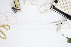 Styled Photo - White & Gold Desk by divagonedomestic on @creativemarket