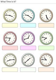 Actividades para niños preescolar, primaria e inicial. Plantillas con relojes analogicos para aprender la hora diciendo que hora es. Que hora es. 22
