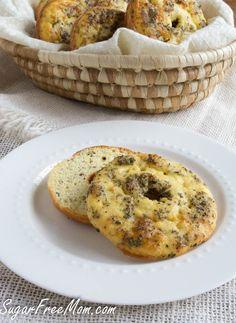 low carb bagel- gluten free, grain free- sugarfreemom.com