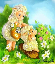 rivusdea by rivusdea on DeviantArt Hump Day Humor, Image Pinterest, Easter Messages, Cute Sheep, Kids Canvas, Sheep And Lamb, Gif Animé, Hoppy Easter, Love Drawings