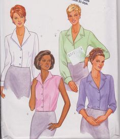 """1990's Sewing Pattern Women's Blouse Top Button Down Sleeveless or Long Sleeve Sizes 14-18 Bust 36-40"""" Butterick 6216 by Sutlerssundries on Etsy"""