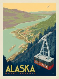 Voyage Usa, Vintage Travel Posters, Poster Vintage, Airline Travel, Alaska Travel, Vintage Advertisements, Scenery, Pictures, National Parks