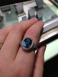 Beautiful blue zircon diamond ring by Simon g jewelry