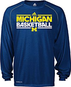 Michigan Wolverines Heather Blue Dribbler Long Sleeve Climalite Basketball Practice Shirt by Adidas $32.95