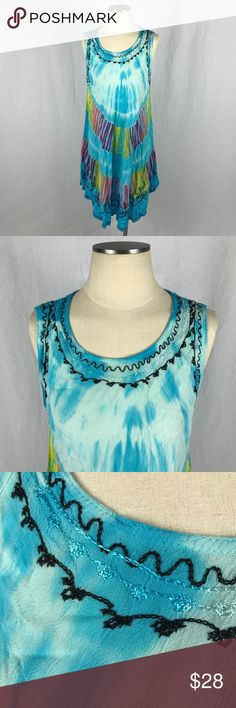 """Vintage Tie Dye Festival Tent Dress Beach Style Fun tent dress perfect for fearing or lounging in the sun.  Colorful tie dye design with black embroidery on the edges. Light weight cool material.  Excellent condition  One size fits most Chest: 25"""" Top to bottom: 32"""" Vintage Dresses Midi"""