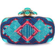 Oscar de la Renta Goa Embellished Satin Clutch ($1,695) ❤ liked on Polyvore featuring bags, handbags, clutches, embellished purses, blue clutches, oscar de la renta, blue handbags and oscar de la renta handbags