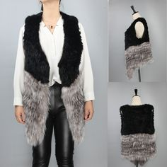 Two-Tone Real Rabbit And Silver Fox Fur Waistcoat For Women Winter