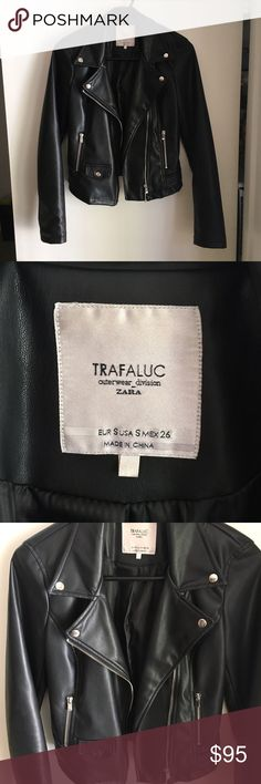 Zara Trafaluc Leather Jacket Like brand new; has no flaws. Size small. I do not believe this is genuine Leather. Price is firm  NO TRADES ❌ Zara Jackets & Coats
